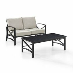 Crosley Kaplan 2 Piece Patio Sofa Set In Oil Rubbed Bronze And Oatmeal