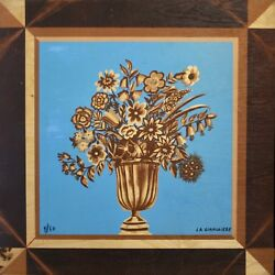 Mady De La Giraudiere - Rare Print On Wood - Lithography - Vase Flowers