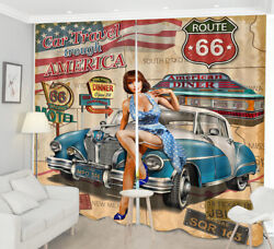 Route 66 Sexty Girl Retro Car 3D Window Curtains Blockout Drapes Fabric 2 Panels
