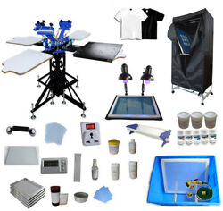 Double Rotary 3 Color Screen Printing Material And Equipment Kit Press Machine