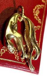 New 1x.75 Solid 14k Yellow Gold Panther Diamond Eye Pendant For Necklace