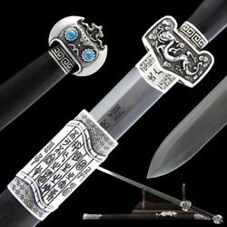 Handmade Military God Double-edged sword pattern steel blade Silver Fittings#006