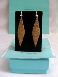 Pair Of And Co 18k Yellow Gold Diamond Chandelier Earrings Bag And Box
