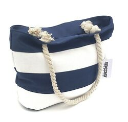 Striped Canvas Beach Bag Tote w rope handles zipper enclosure inner pocket $16.99