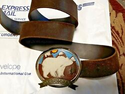 Dsquared Unique Rare Menand039s Brown Leather Belt Italy W/calf Hair Bear Buckle
