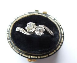 Edwardian 18ct Gold And Platinum Crossover Diamond Ring Size K 1/2