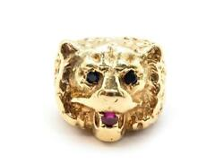 14k Yellow Gold Ruby And Sapphire Bear Animal Head Ring