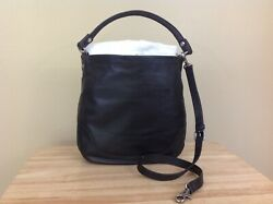 Frye Melissa Antique Pull Up Italian Leather Hobo Bag Handbag Black $388 NWT