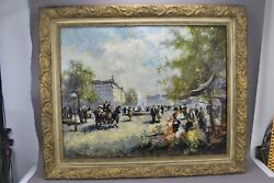 Christian Jereczek Original Oil Canvas Painting Framed Signed Village Market