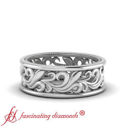 8mm Mens Antique Looking Wide Filigree Design Wedding Band In 14k White Gold