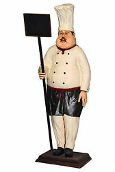 90 Large Chef With Chalkboard Menu Statue Restaurant Kitchen Decor Collectible