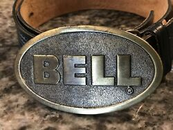 Pi04108 Vintage 1970s Bell Car And Motorcycle Racing Helmets Buckle With Belt