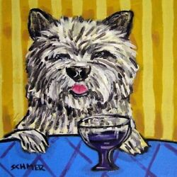 8X8 Cairn terrier at the wine bar dog art tile coaster gift