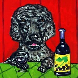 8X8 black poodle at the wine bar gift dog art tile coaster  tiles coasters gifts