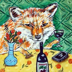 8X8 fox at the wine bar ANIMAL ceramic coaster art tile gifts