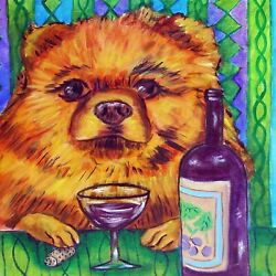 8X8 pomeranian at the wine bar picture dog  art tile coaster gift schmetz