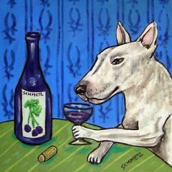 8X8 bull terrier AT THE WINEBAR DOG ART TILE TILES COASTERS GIFT GIFTS