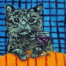 8X8 BLACK CAT at the wine bar art tile coaster gift gifts coasters tiles