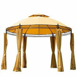 11.5' x 9' Round Soft Top Dome Patio Gazebo With Privacy Curtains - F1O6