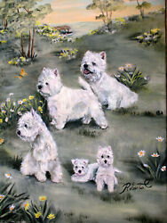 West Highland White Terrier group original oil painting on canvas by Roberta C