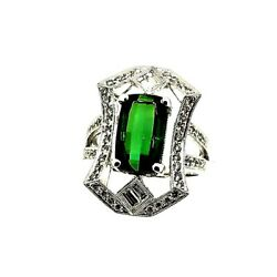 18 Kt White Gold Natural Green Tourmaline And Diamond Ring 4.45 Tcw 11.55 Grams