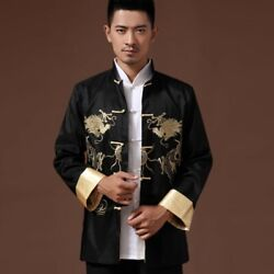 Men#x27;s Chinese style Embroidered dragon Satin Jacket Vintage Coats Formal dress