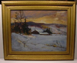 FRANK LEONARD BROOKS TORONTO CANADA WINTER CABIN NORTH BAY NIGHT OIL PAINTING