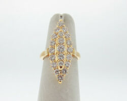 Genuine 2.00cttw Diamonds Solid 18k Yellow Gold Cocktail Cluster Ring Free Size