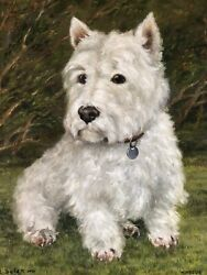 Original Decorative Oil Painting Pet Portrait Scottish White Dog Terrier Signed