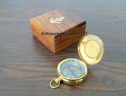Lot Of 10 Pcs Royal Navy Pocket Brass Compass W/ Anchor Wooden Box Best For Gift