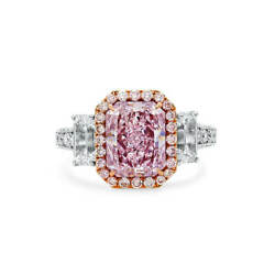 3.01 Ct Classic Radiant Cut Light Pink Diamond Ring Natural 18K White Gold GIA
