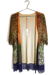 New One World Womens Plus Size Printed Knee Kimino Cardigan Valet Knit Top 78