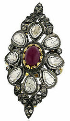 Engagement Victorian Look Sterling Silver 1.10Ct. Rose Cut Diamond Ring Ia281