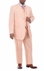 Mens 50l Apollo King Mens Solid Peach Three Piece Wool Suit With Peak Lapels