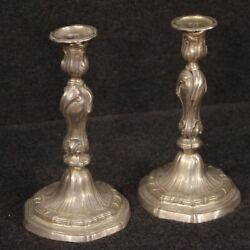 Pair Of Candelabra In Silvered Metal 2 Candlesticks 1 Flame Candle Holder 900