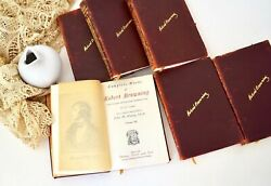 1868 Complete Works Of Robert Browning Antique Book Set Of All 6 Leather Cover