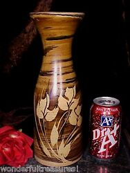 Great Vintage 1970 Pacific Stoneware Vase Lovely Flowers Artist Signed Welsch