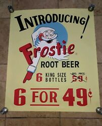 Large Frostie Root Beer 1939 Poster Sign Introducing Frostie Root Beer 39 Cents