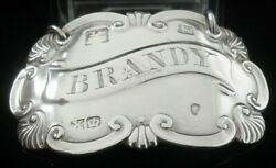 Antique Sterling Silver Brandy Decanter Label, Edward Hatfield And Co 1842