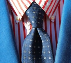 St. Michael  Marks & Spencer Gent's Navy Blue Printed Silk Tie - England
