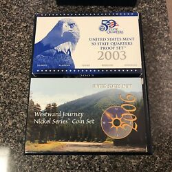Us Mint Collector's Box 2003 S 5 Coin State Quarter Proof Set In Box And Coa