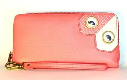 NEW FOSSIL WALLET EMMA'S HEART & EYES THAT MOVE; RFID PROTECTED ; GOLD PINK