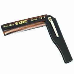 Kent 20t 3 3/4 100mm Fine Tooth Folding Comb With Pocket Clip. Sawcut