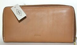 NEW FOSSIL WALLET EMMA'S TAN ZIP AROUND; WITH RFID PROTECTION; TAN
