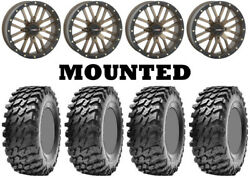 Kit 4 Maxxis Rampage Tires 32x10-14 On System 3 St-3 Bronze Wheels Fxt