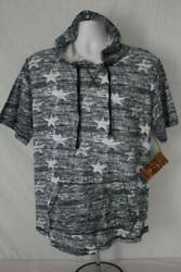 NEW Mens Hooded Short Sleeve T Shirt Large Pocket Blue Stars Casual Top Hoodie