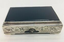 Toyo Koki Japanese Antique 950 Sterling Silver Black Lacquer Onyx Jewelry Box