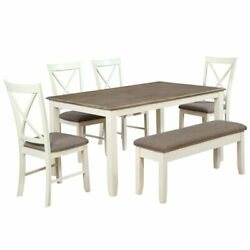 Powell Jane 6 Piece Dining Set in White and Gray
