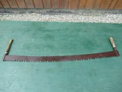 Nice Old Crosscut Saw Tool With Two Wooden Handle With 65 Long Blade