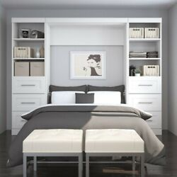 Bestar Pur 109 Full Wall Bed With 2 Piece 6-drawer Storage Unit In White